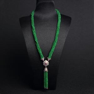 惊鸿——18K金镶糯种满绿翡翠珠链