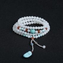 玉化砗磲绿松珠链