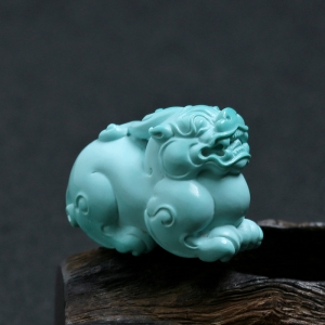 高瓷高蓝绿松石貔貅摆件