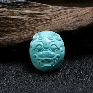 高瓷高藍綠松瑞獸戒面