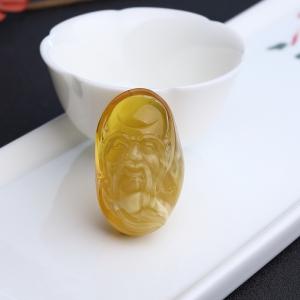 金绞蜜鸡油黄蜜蜡寿星吊坠