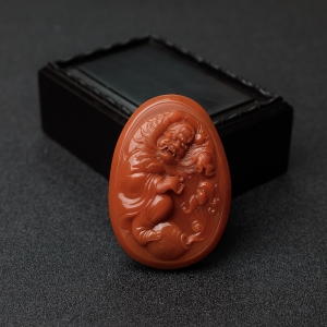 柿子红南红钟馗纳福吊坠
