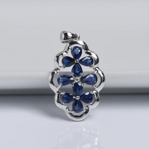 18k白金镶钻蓝色蓝宝石刻面吊坠