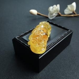 褐黃金絞蜜貔貅吊墜