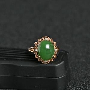 18K金镶钻籽料碧玉蛋面戒指