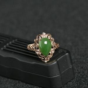 18K金鑲鉆籽料碧玉蛋面戒指