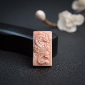 misu粉紅珊瑚龍牌吊墜