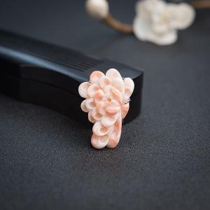 銀鑲misu粉紅珊瑚菊花胸針