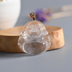 银镶锆石冰种透明水沫玉弥勒佛吊坠
