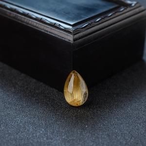 钛金发晶水滴戒面