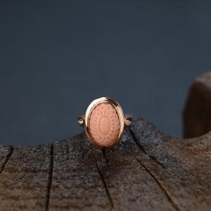 18K鑲MISU粉色珊瑚花戒指