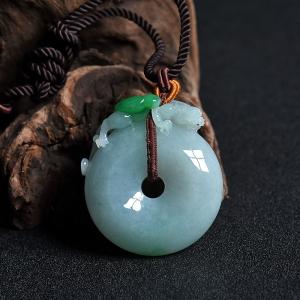 糯种带绿翡翠如意吉祥平安扣吊坠