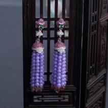 18K镶糯种紫罗兰翡翠耳坠