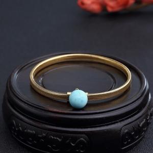 18K金镶中高瓷蓝绿松石手环