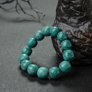 高瓷乌兰花蓝绿绿松石苹果珠手串