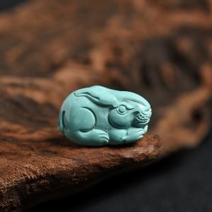 高瓷高蓝绿松兔子吊坠