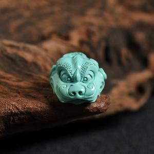 高瓷高藍綠松瑞獸吊墜