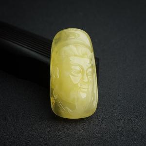 柠檬黄金绞蜜关公吊坠