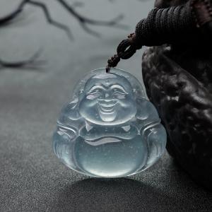 冰种蓝水翡翠佛吊坠