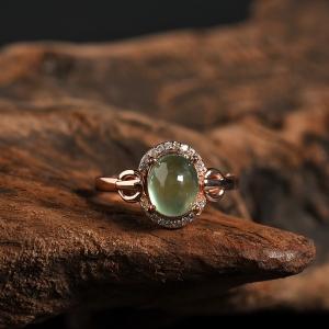 银镶葡萄石戒指