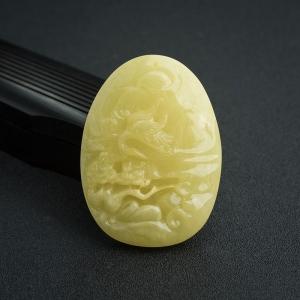 柠檬黄蜜蜡松鹤延年吊坠