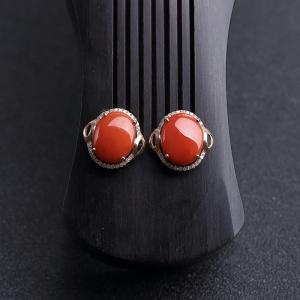 18K金镶钻沙丁朱红珊瑚耳钉