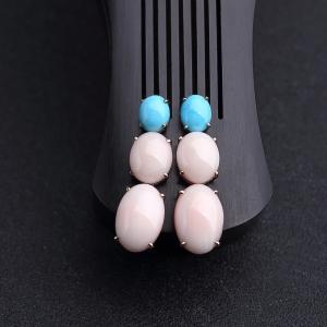 18K金鑲MISU粉色珊瑚耳墜