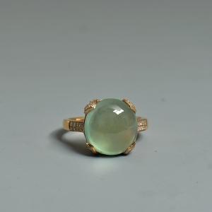 18k镶钻葡萄石戒指