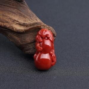 阿卡深红珊瑚福瓜吊坠