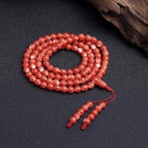5.5mmMOMO橘红珊瑚108佛珠