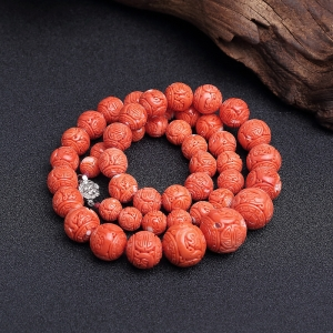 MOMO橘红珊瑚龙珠塔链