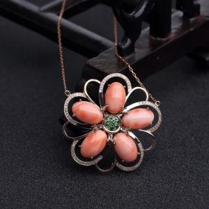 18K金鑲MISU粉色珊瑚項鏈