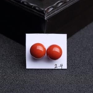 9.5mm沙丁朱红珊瑚圆珠(一对)