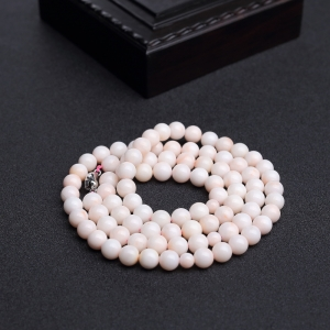 8mmMISU粉色珊瑚项链