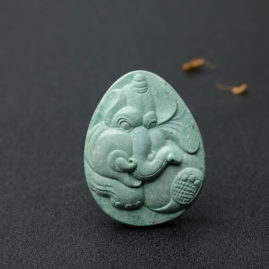 中高瓷蓝绿绿松石大象吊坠