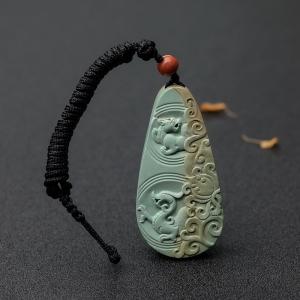 中瓷藍綠綠松石龍吊墜