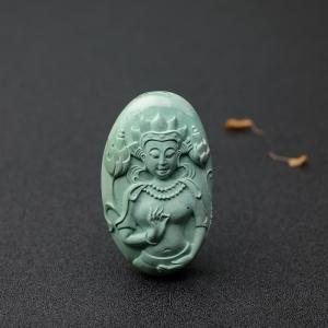 中高瓷蓝绿绿松石藏观音吊坠