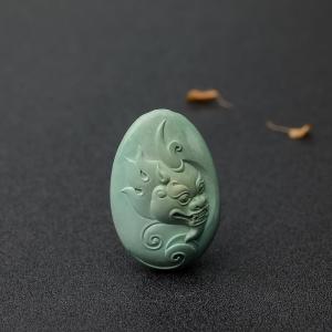 中瓷蓝绿绿松石龙吊坠