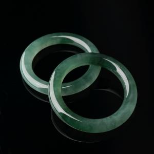 56.5#冰种深绿翡翠圆镯(两件)