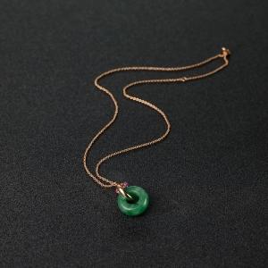 18K金鑲糯種翠色翡翠平安扣項鏈