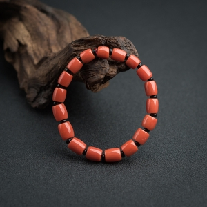 沙丁朱紅珊瑚桶珠手串