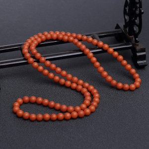 8mm柿子红南红108佛珠