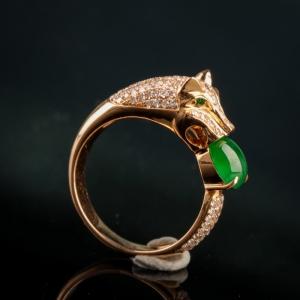 18K金镶钻糯冰种深绿翡翠戒指
