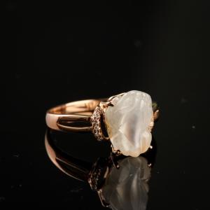18K金镶钻冰种翡翠貔貅戒指