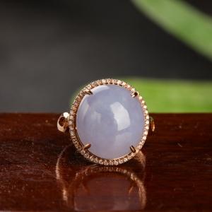 18K金镶钻糯种浅紫翡翠戒指