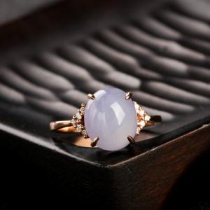 18K金鑲鉆糯種淺紫翡翠戒指