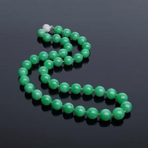 18K金鑲鉆糯種陽綠翡翠項鏈