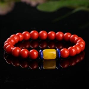 7.5mm沙丁朱红珊瑚手链