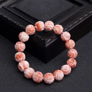 MOMO粉红珊瑚龙珠手串