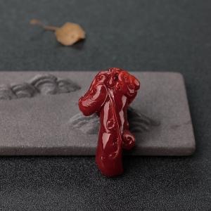 阿卡黑红珊瑚福瓜吊坠